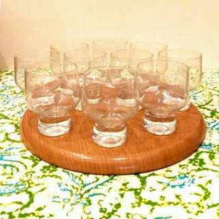 10x Vintage Clear Footed Whisky Glass