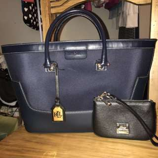 *reduced* Ralph Lauren Handbag And Wristlet Set