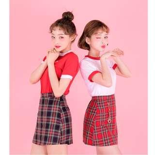 strawberry milk tee 草莓牛奶系列領口撞色短袖上衣 ( CHUU 官網代購 ) 純棉 圓領 T恤 寬鬆
