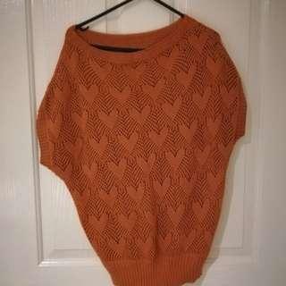 Burnt orange knit top