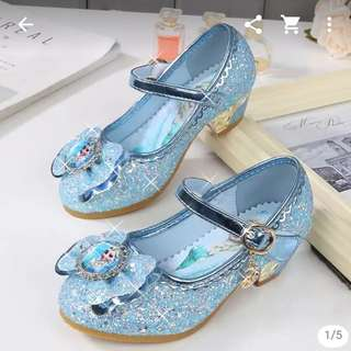 6-8 year old Frozen Elsa Shoes with heels and sparkling crystals
