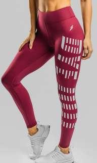 Doyoueven burgundy red retro leggings