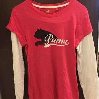 Puma粉色假兩件上衣