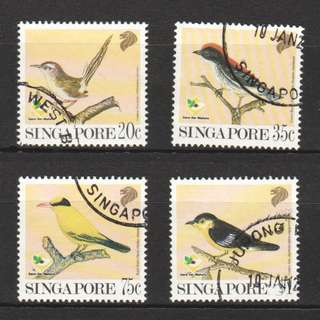 SINGAPORE 1991 BIRD SERIES GARDEN BIRDS COMP. SET OF 4 STAMPS IN FINE USED CONDITION