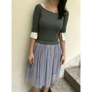 灰針織上衣拼接紗裙