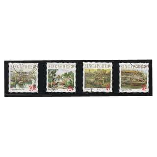 SINGAPORE 1992 ART SERIES LOCAL ARTISTS COMP. SET OF 4 STAMPS SC#617-620 IN FINE USED CONDITION
