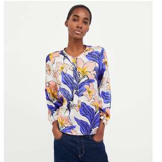 European and American style flower print round neck loose shirt