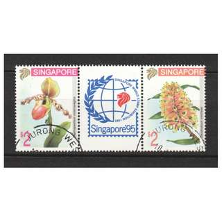 SINGAPORE 1994 ORCHIDS 4TH SERIES SE-TENANT PAIR WITH GUTTER COMP. SET OF 2 STAMPS IN FINE USED CONDITION