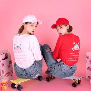 strawberry milk tee 草莓牛奶系列後背印花短袖上衣 ( CHUU 官網代購 ) 純棉 圓領 T恤 寬鬆