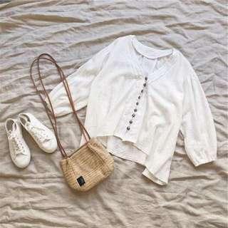民族風銅扣燈籠袖蕾絲七分袖棉麻衫 不規則下擺 可當外套