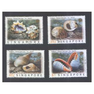 SINGAPORE 1997 THAILAND JOINT ISSUE SEASHELLS COMP. SET OF 4 STAMPS SC#691-694 IN FINE USED CONDITION