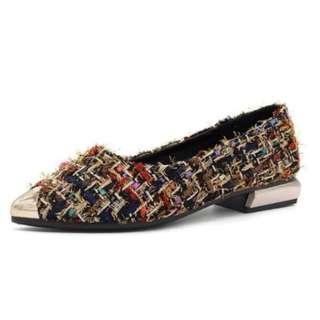 Tweed Shoes with Golden Heels
