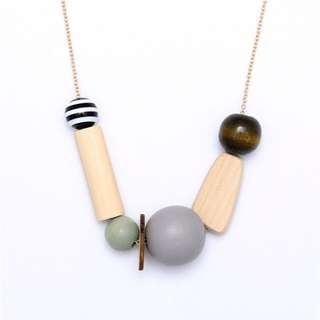 Grey Stone Geometry Long Chain Necklace