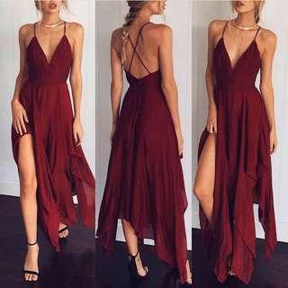 Hanky Hem Asymmetrical Cross Back Dress (Wine)