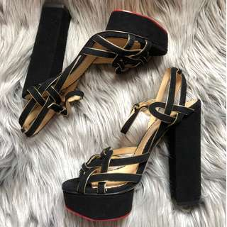 Size 37 Charlotte Olympia Forever Young metallic-trimmed suede platform sandals