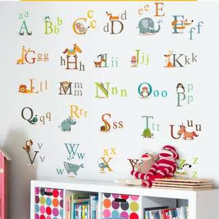 26 Alphabet Baby Early Learning English Letter Wall Sticker Bedroom Room Decoration Living Room Background Wall Stickers Home decor ( Raw sticker 90x60cm )