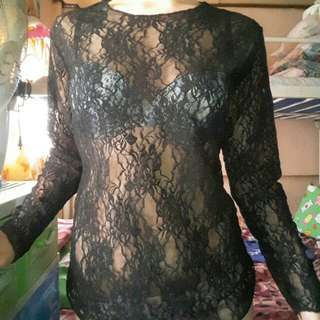 Black korean lace cover up