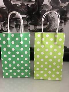 Green polka dot paper bag- do it yourself goody bag
