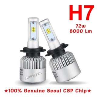 H7 CSP Led Headlight   ★Car Van Fog / Headlight Usage  ★100% Genuine Seoul 1616     CSP Chip      2 Sided x 12 Leds      ★Ultra Bright      Built-in Driver    ★Mini Size      Plug & Play  ★6.5k White      4000 lm Per Bulb 36w   OUT OF STOCK