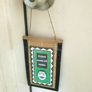 Handmade rattan hotel room door tag