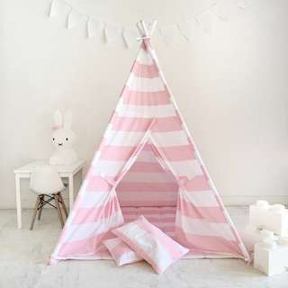Light Pink and White Striped Teepee Play Tent