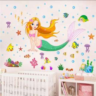 💟( 3 Designs . $10 Each ) Cartoon Mermaid Wall Sticker Bedroom Bathroom Wall Stickers Glass Decoration Stickers Home decor ( Raw sticker 70x50cm )