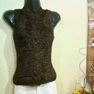Sweet Dark Brown Close Neck Top