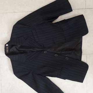 Formal dark blue-striped 3 piece suit with ready-knotted neck tie for special occasions!