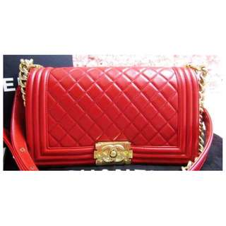 Chanel Red Quilted Lambskin Old Medium Boy Bag