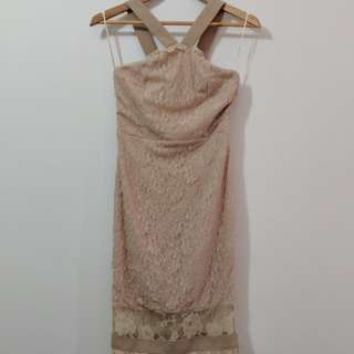 Missguided Nude Lace Dress size 8