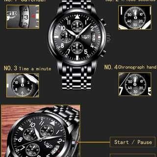 LIGE Mens Watches Top Brand Luxury Fashion Business Quartz Watch Men Sport Full Steel Waterproof