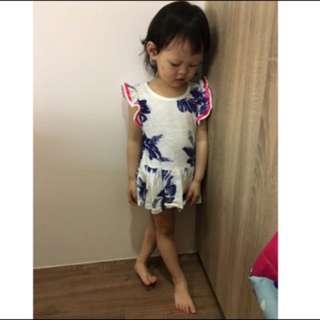啾寶💋《現貨》竹節棉 花卉 荷葉袖 小洋裝「特價 清倉價」
