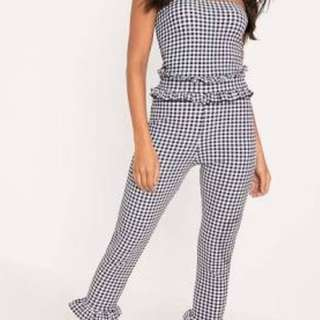 Pretty Little Thing Gingham Jumpsuit size 10