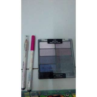 eyeshadow palette, eyebrow pencils