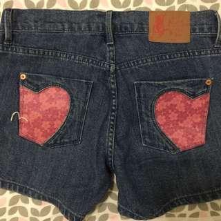 EVISU 女短褲愛心口袋