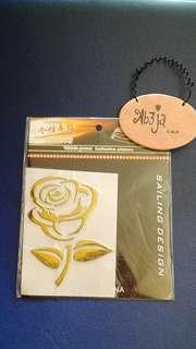 Reflective golden rose sticker