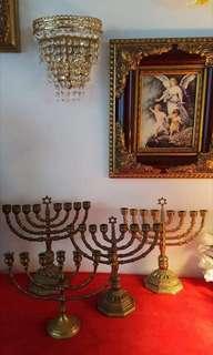 Menorah David Chandelier 7 Candle Holder Stand Antique Bronze/Brass menorah. /1 pcs/(Offer me best price)