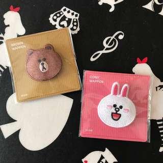📮包平郵🆕LINE FRIENDS Cony & Brown embroidery brooch 刺繡胸針