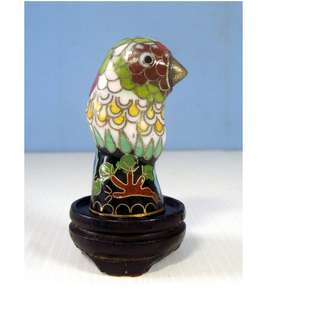 Vintage miniature cloisonne bird display wood stand retired circa 1950s