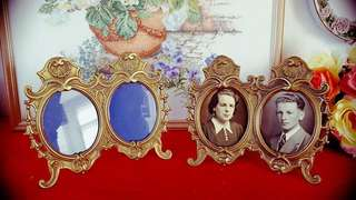 Victorian Antique brass oval double frame From Italian./1 pcs/Offer me best price.