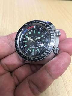 古董法國OLYVIA雙霸的、內外轉圈手動上弦潛水錶