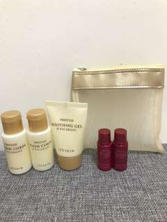It's Skin Prestige Washing and Lotion Trial Set + Ginseng Toner and Lotion Trial Set (with pouch)
