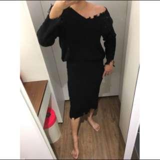 啾💋《現貨》不規則剪破鬚鬚設計 彈性 上衣+中長裙=套裝「特價 清倉價」