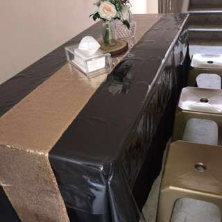 Buffet tray setup rental Halal cambro birthday dessert table engagement wedding Stools table skirting table cover white cloth runner sequin gold cupcakes catering chairs