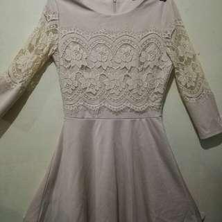 Beige sleeved dress #beigedress