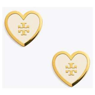 Brand new authentic tory burch gold white enamel logo earrings
