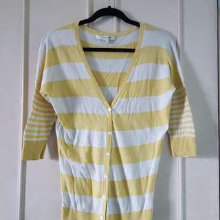 Forever21 Yellow and White Cardigan