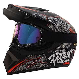 Black with White Red Orange Designs Full Face Motorcycle Helmet Scrambler Motorcross Motocross Scrambler Off Road Dirt Bike