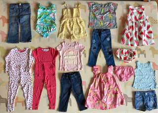 Lot of 16 Pieces of Babygap & Carters Girls' Clothing