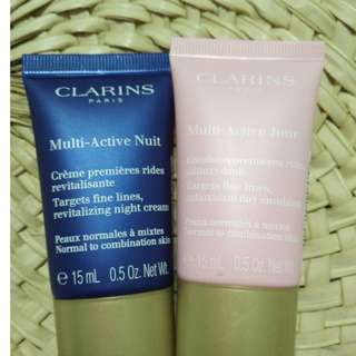 clarins multi-active JOUR 15ml +multi-active nuit 15ml brand new